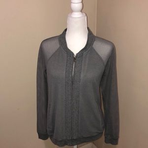 Cable & gauge gray open- knit sweater size medium